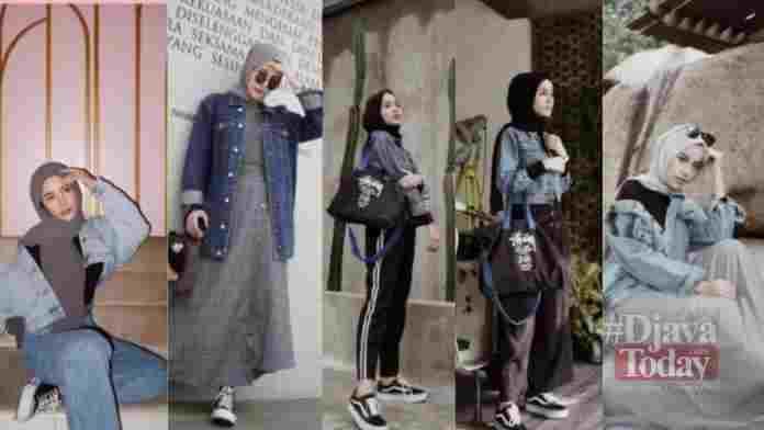 Gaya hijab dengan jaket denim